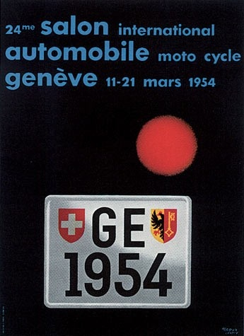 Geneva International Motor Show 1954 poster