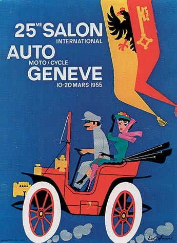 Geneva International Motor Show 1955 poster